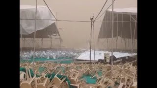 Massive storm destroys tent at PM Modi's rally site in Himmatnagar - ABPNEWSTV