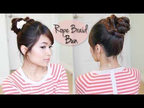 Easy Rope Braid Rose Bun Updo Hair Tutorial