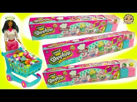 Chef Barbie Shops for 60 Season 6 Shopkins - 20 Mega Packs with Surprise Recipe Club Blind Bags