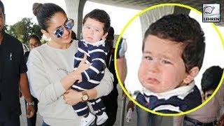 Kareena's Baby Taimur Ali Khan Spotted CRYING While Leaving For Delhi | LehrenTV