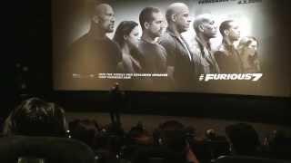"""شاهد.. """"فان ديزل"""" يتحدث عن وفاة بول ووكر في عرض """"Furious 7"""""""