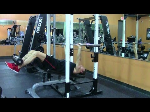 Barbell Decline Bench Press - HASfit Lower Chest Exercise Demonstration - Decline Press - Pectoral