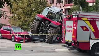 Man plows tractor into cars on way to protest at Israeli embassy in Ankara - RUSSIATODAY