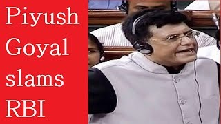 Piyush Goyal slams RBI under Urjit Patel: One cannot have power without being responsible - NEWSXLIVE