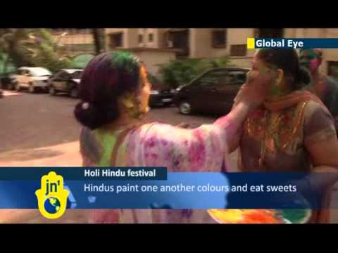 Traditional Hindu festival of Holi celebrated in India with a rainbow explosion of colour