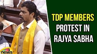Parliment Session 2018 | TDP Members Protest in Rajya Sabha | CM Ramesh Protest in Hall | Mango News - MANGONEWS