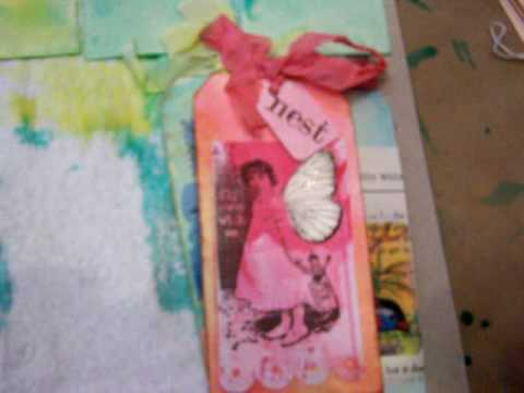Red Lead Paperworks Hand Dyes Tags with Ranger Adirondack Color Washes and Tattered Angels Sprays
