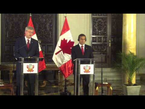 Prime Minister Stephen Harper responds to Senate expenses affair during trip to Peru, May 22, 2013