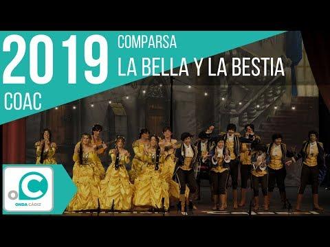 La agrupación La bella y la Bestia llega al COAC 2019 en la modalidad de Comparsas. En años anteriores (2018) concursaron en el Teatro Falla como Las guerrilleras, consiguiendo una clasificación en el concurso de Cuartos de final.