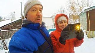 Адский дилижанс. Мотоблок Беларус на грунтозацепах по снегу. Заводим в мороз.