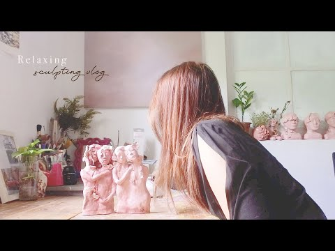 [I TRIED] Relaxing Airdry Clay Sculpting – art vlog ep.36
