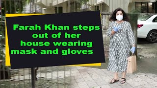Farah Khan steps out of her house wearing mask and gloves - IANSINDIA
