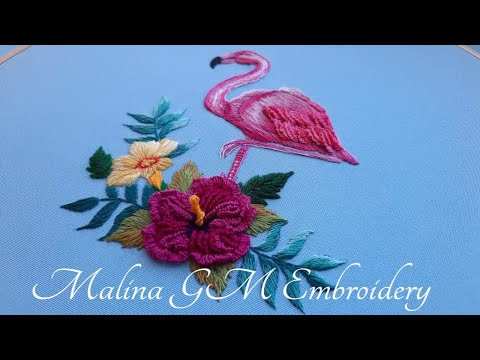 Embroidery  Tropical flowers for flamingo   Long and short stitches & Cast-on Stitch   Part 2 