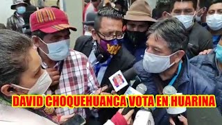 DAVID CHOQUEHUANCA LLEGÓ HASTÁ EL RECINTO DE MARISCAL ANDRES DE SANTA CRUZ EN HUARINA A SUFRAGAR..