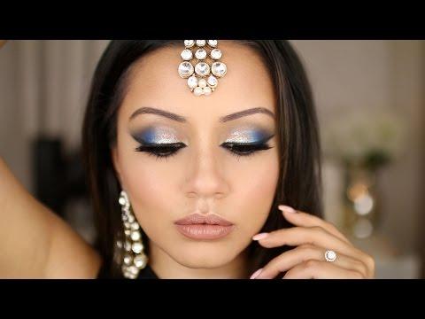 Dramatic Blue & Silver Tutorial   Eid Makeup Look