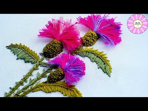 Как вышить цветы чертополоха *3Д вышивка