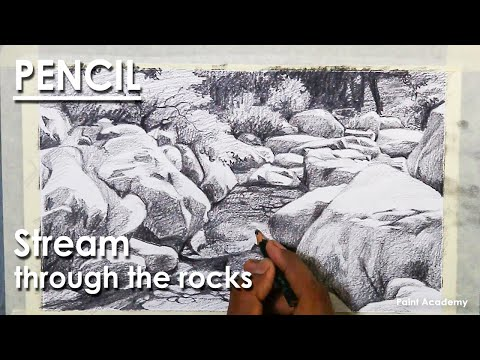 Pencil Drawing : A composition on stream flowing through the rocks
