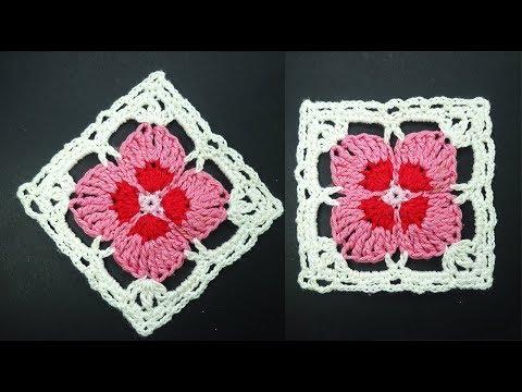 Шикарный мотив с цветком  Crochet square motive Мотив крючком вязание крючком