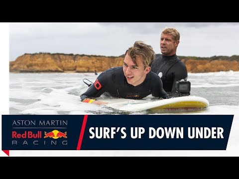 Surf's Up Down Under   Pierre Gasly gets treated to a Mick Fanning surf lesson