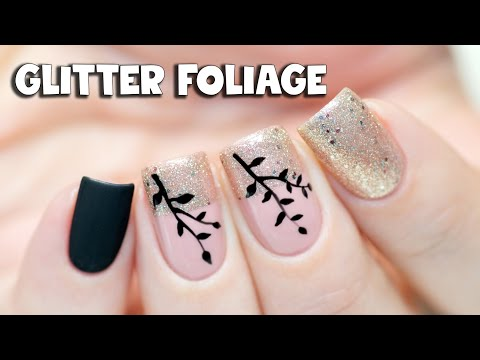 Simple Gel Nail Art - Glitter & Foliage