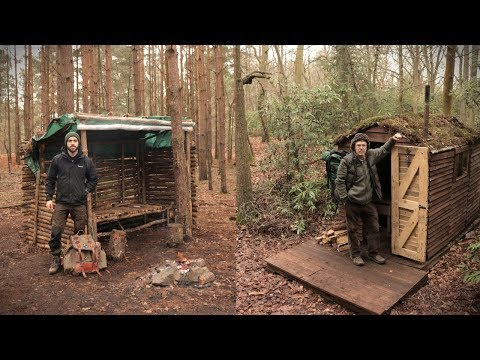 Overnight at The Bushcraft Camp & Off Grid Cabin (Forest Camping)
