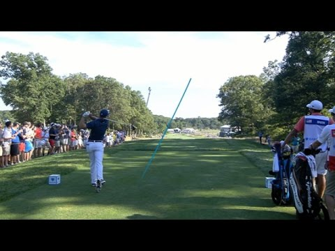 Jordan Spieth smashes a 329-yard drive at The Barclays
