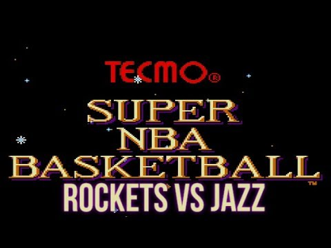 Tecmo Super NBA Basketball (1993) - Mega Drive - Utah Jazz vs Houston Rockets