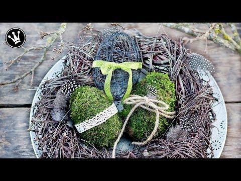 DIY - Frühlingssdeko selber machen   Osterdeko   Eier aus Moos und Draht   Kranz aus Zweigen