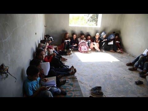 فيلا قيد الانشاء في شمال سوريا تتحول مدرسة  لتلاميذ نازحين