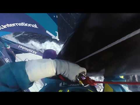 Headcam footage of Brad Farrand up the mast in the Southern Ocean