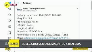 Sismo de magnitud 4.8 se registró en Lima