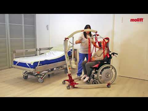 Learn how to Transfer from chair to bed with hoist Molift Smart 150 and sling RgoSling HighBack