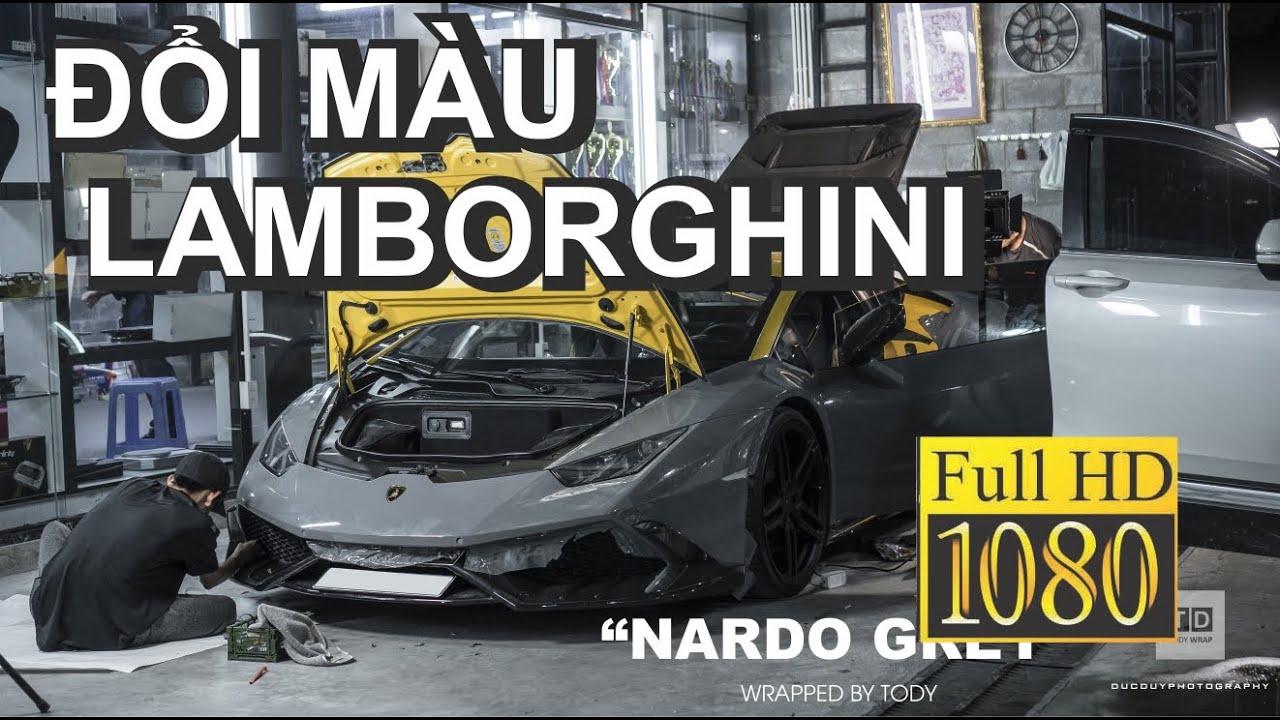 Đổi màu Lamborghini Huracan Mansory từ vàng qua xám xi măng