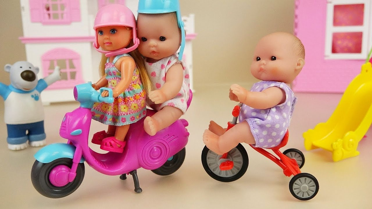Baby doll scooter and bicycle play park toys