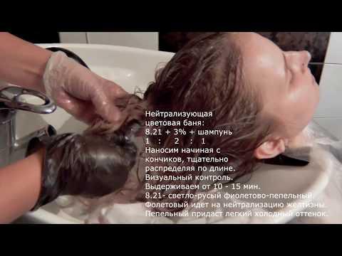Колористическая задача №2:  нейтрализующая цветовая баня после  мелирования волос photo