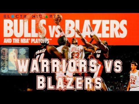 Bulls vs Blazers and the NBA Playoffs (1992) - Super Nintendo - Wariors vs Blazers