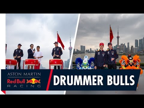 Drummer Bulls   Max Verstappen and Pierre Gasly get a traditional Chinese welcome.