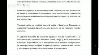 Venezuela rechaza sanciones de Estados Unidos contra altos funcionarios de Nicaragua