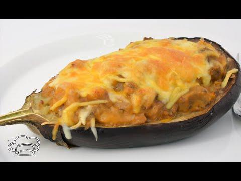Como hacer berenjenas rellenas de cordero asado y gratinadas con queso