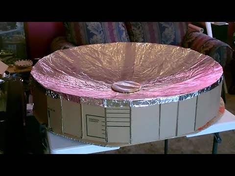 My Homemade Solar Parabolic Dish! - (Updated!) - for faster cooking! - DIY Solar Cooker! (only $7)