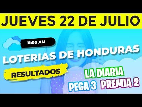 Sorteo 11AM Loto Honduras, La Diaria, Pega 3, Premia 2, Jueves 22 de Julio del 2021   Ganador
