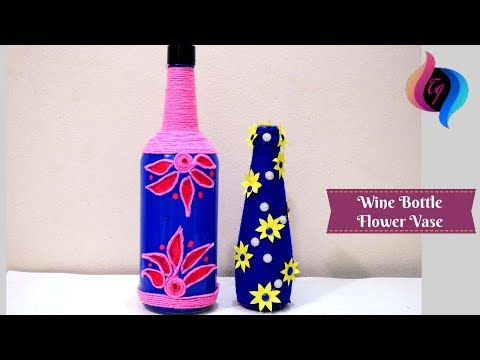 Wine bottle flower vase - Wine bottle vase diy - Empty wine bottle decoration ideas