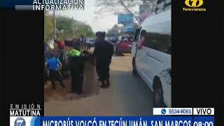 Varios heridos en volcamiento de microbús en Tecum Umán