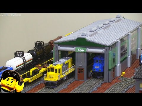 connectYoutube - Custom LEGO train engine shed / shop / depot in the city!
