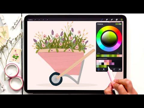 Paint a Gouache Wheelbarrow of Flowers in Procreate