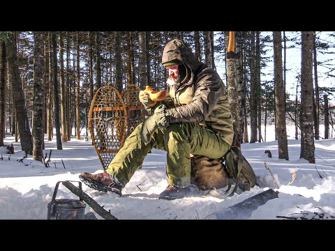 Frozen Wilderness Lake Camp - Temps at -25F/-33C | Winter Bushcraft
