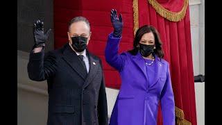 Kamala Harris Hillary Clinton Michelle Obama wear purple at Biden