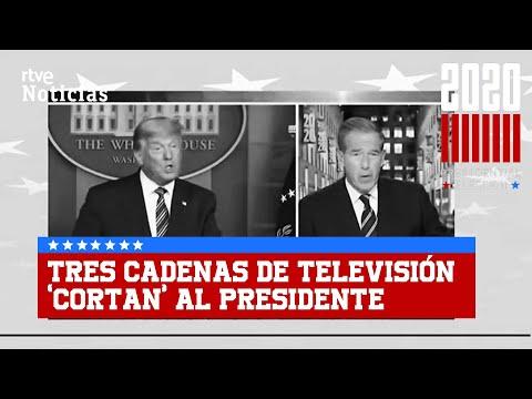Tres CADENAS de TELEVISIÓN CORTAN el mensaje de TRUMP para «corregir» al presidente | RTVE