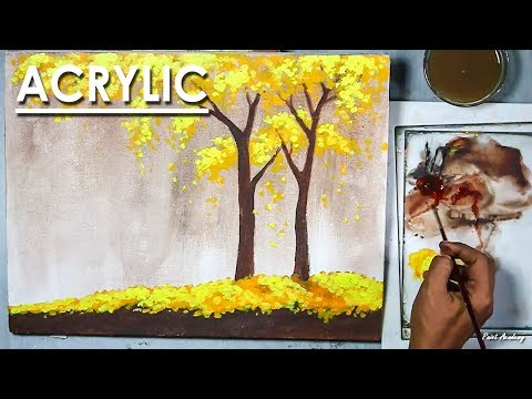 Beginners An Autumn Scene in a Creative Style Acrylic Painting