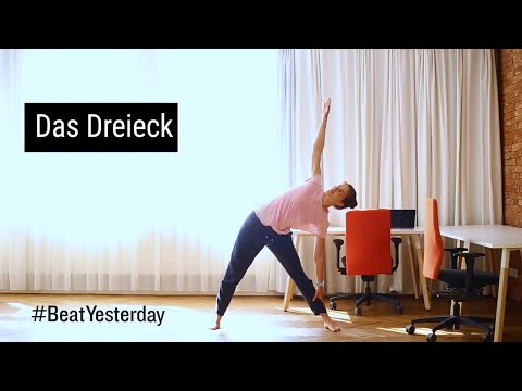 "Sportliche Mittagspause - Yogaübung ""Dreieck"""